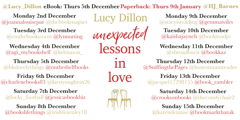Unexpected Lessons in Love blog tour banner